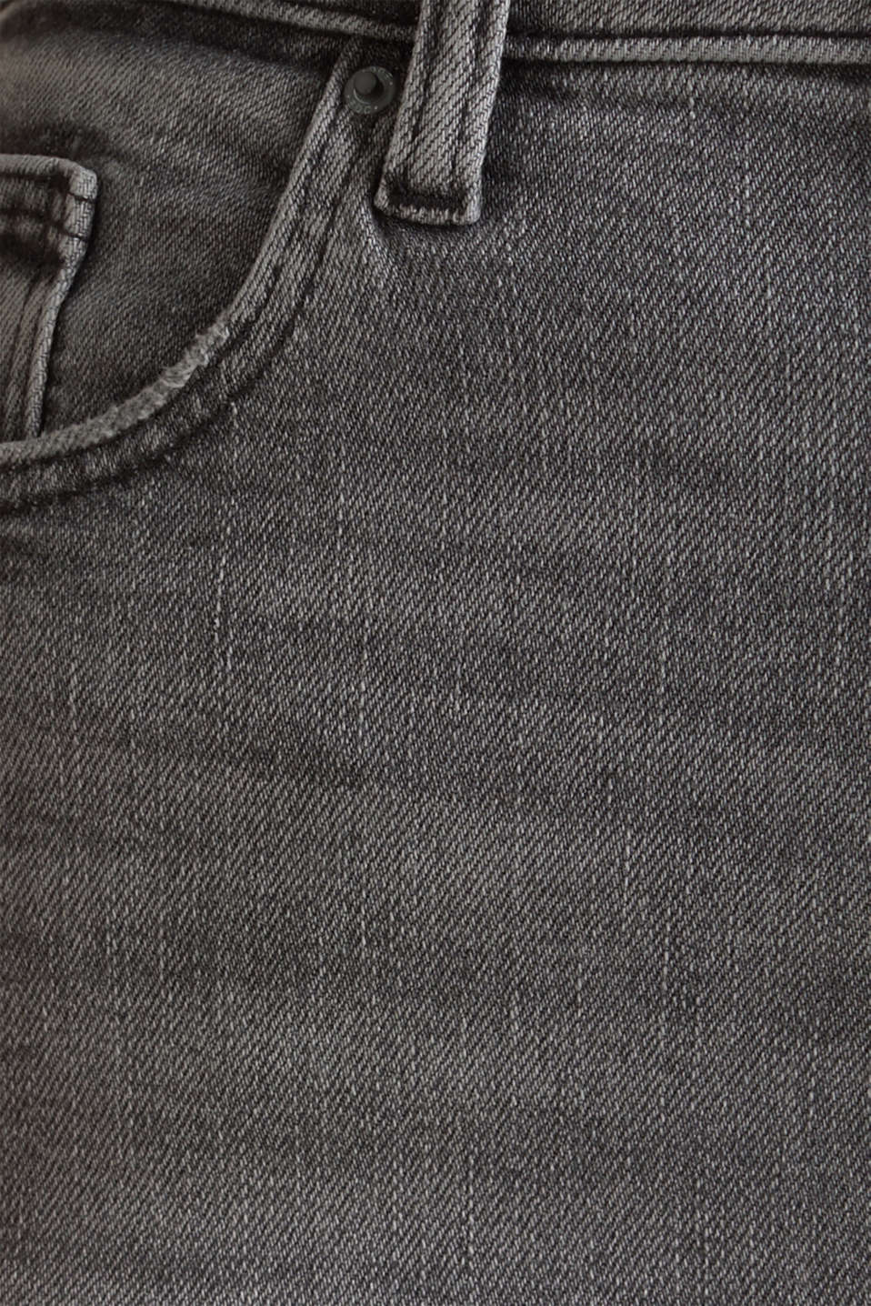 Basic jeans with an extra high rise waistband, BLACK LIGHT WASH, detail image number 4