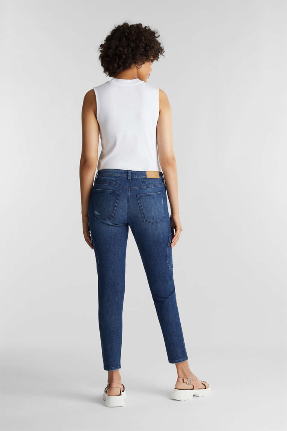 Ankle-length cargo jeans, BLUE DARK WASH, detail image number 3