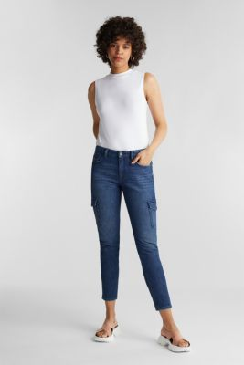 Ankle-length cargo jeans, BLUE DARK WASH, detail