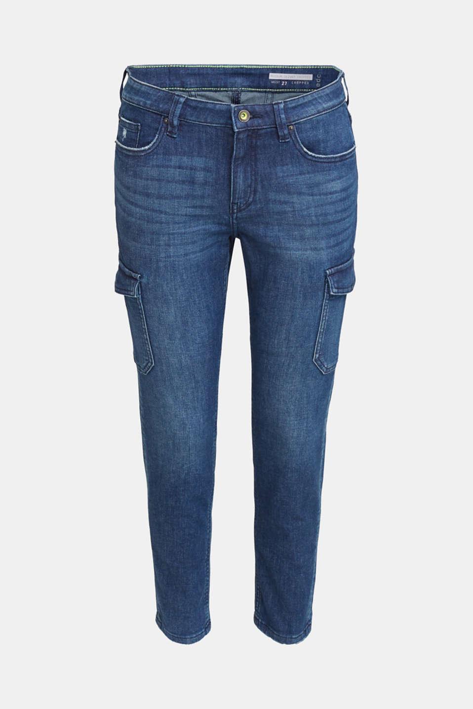 Ankle-length cargo jeans, BLUE DARK WASH, detail image number 6