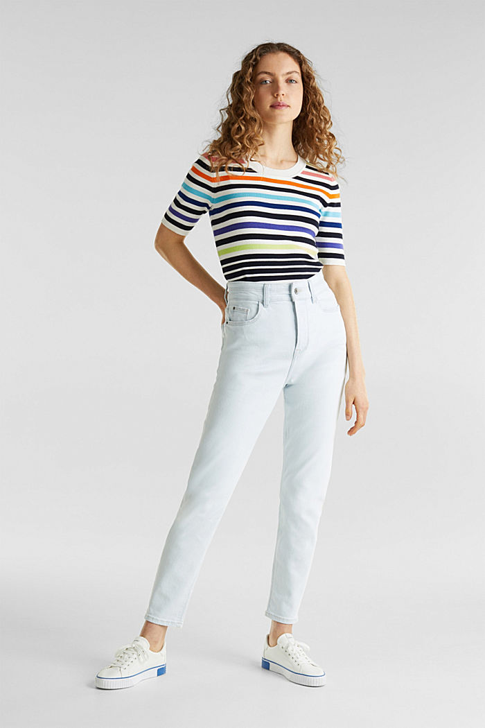 Bleached jeans met knoopgulp, BLUE BLEACHED, detail image number 1