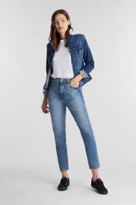 Jeans with a garment-washed effect, BLUE MEDIUM WASH, detail