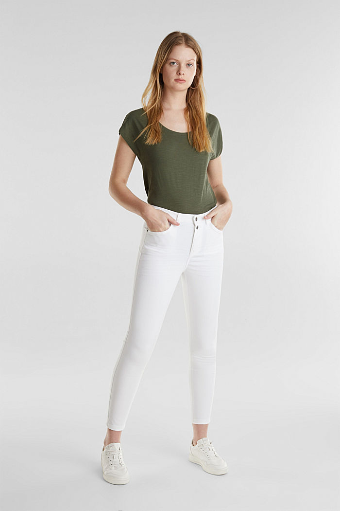 Knöchellange Stretch-Pants, WHITE, detail image number 0