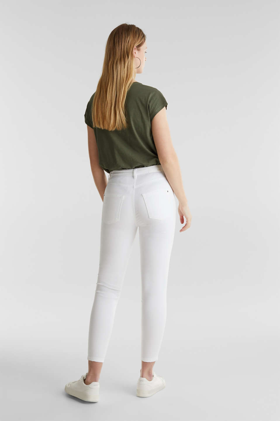 Ankle-length stretch trousers, WHITE, detail image number 3