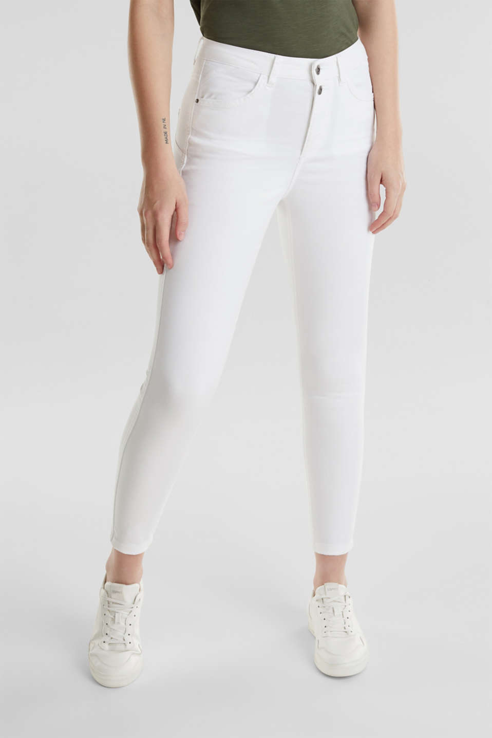 Ankle-length stretch trousers, WHITE, detail image number 6