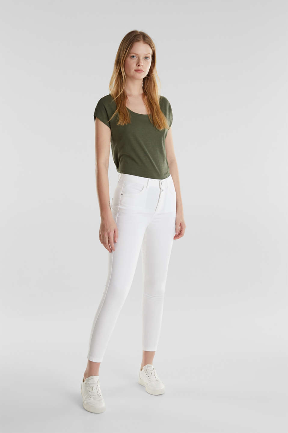 Ankle-length stretch trousers, WHITE, detail image number 1