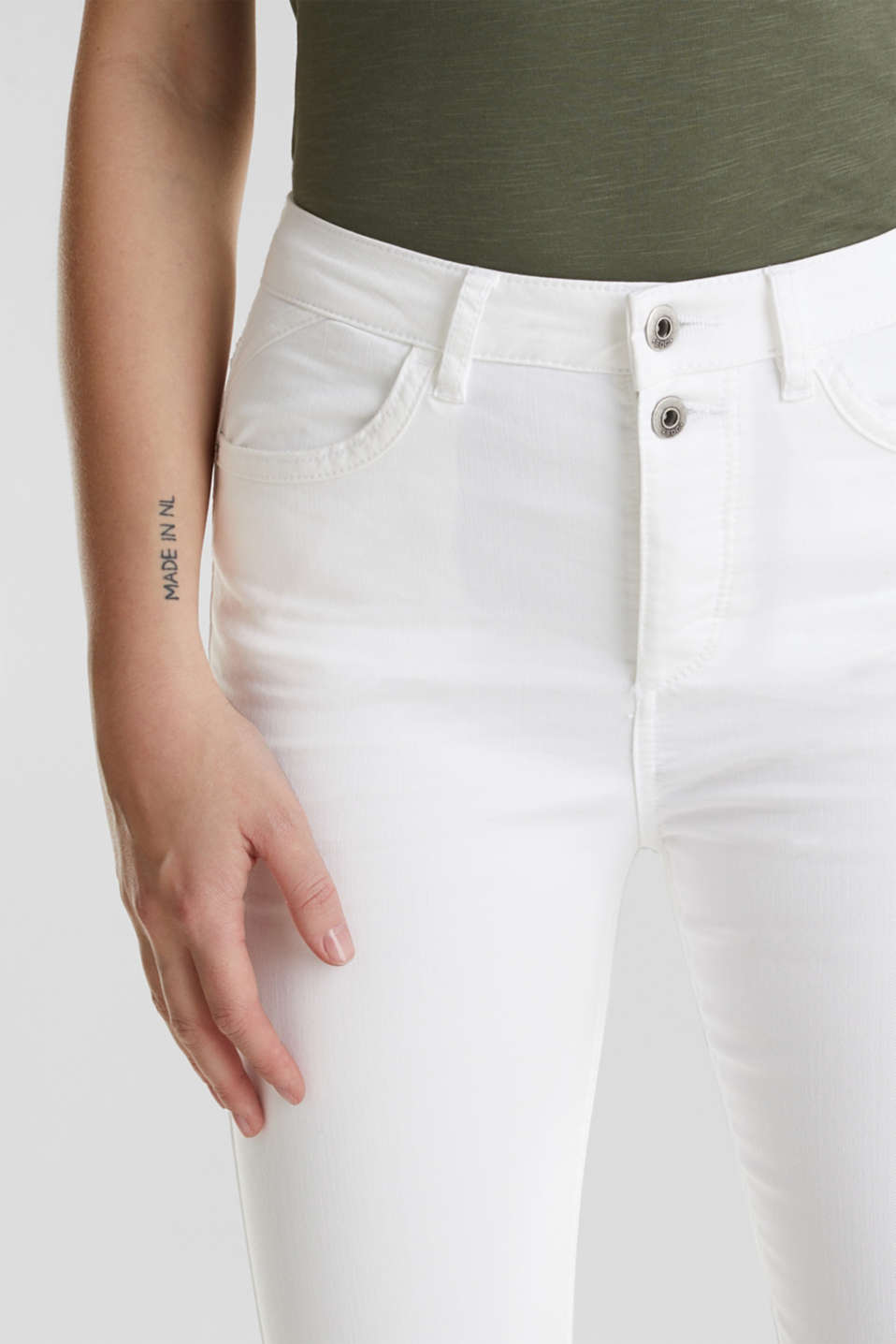 Ankle-length stretch trousers, WHITE, detail image number 2