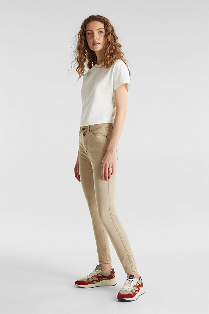 Knöchellange Stretch-Pants, KHAKI BEIGE, detail image number 0