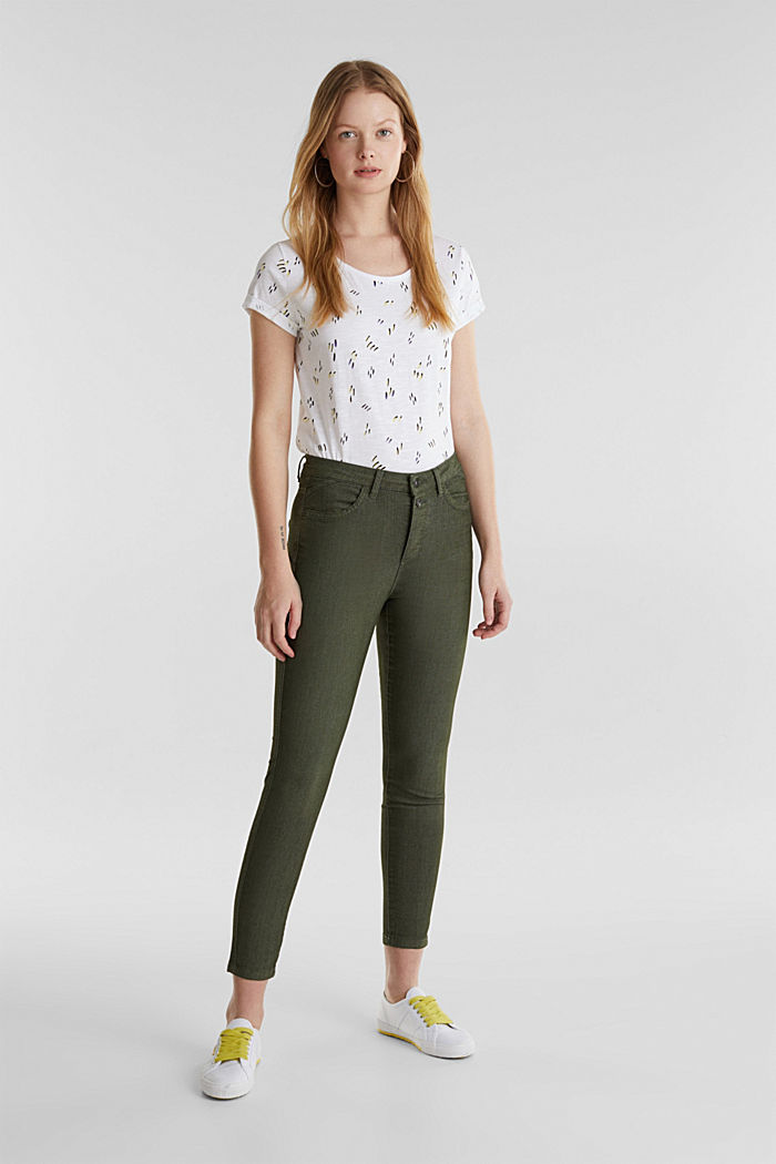 Ankle-length stretch trousers, KHAKI GREEN, detail image number 0