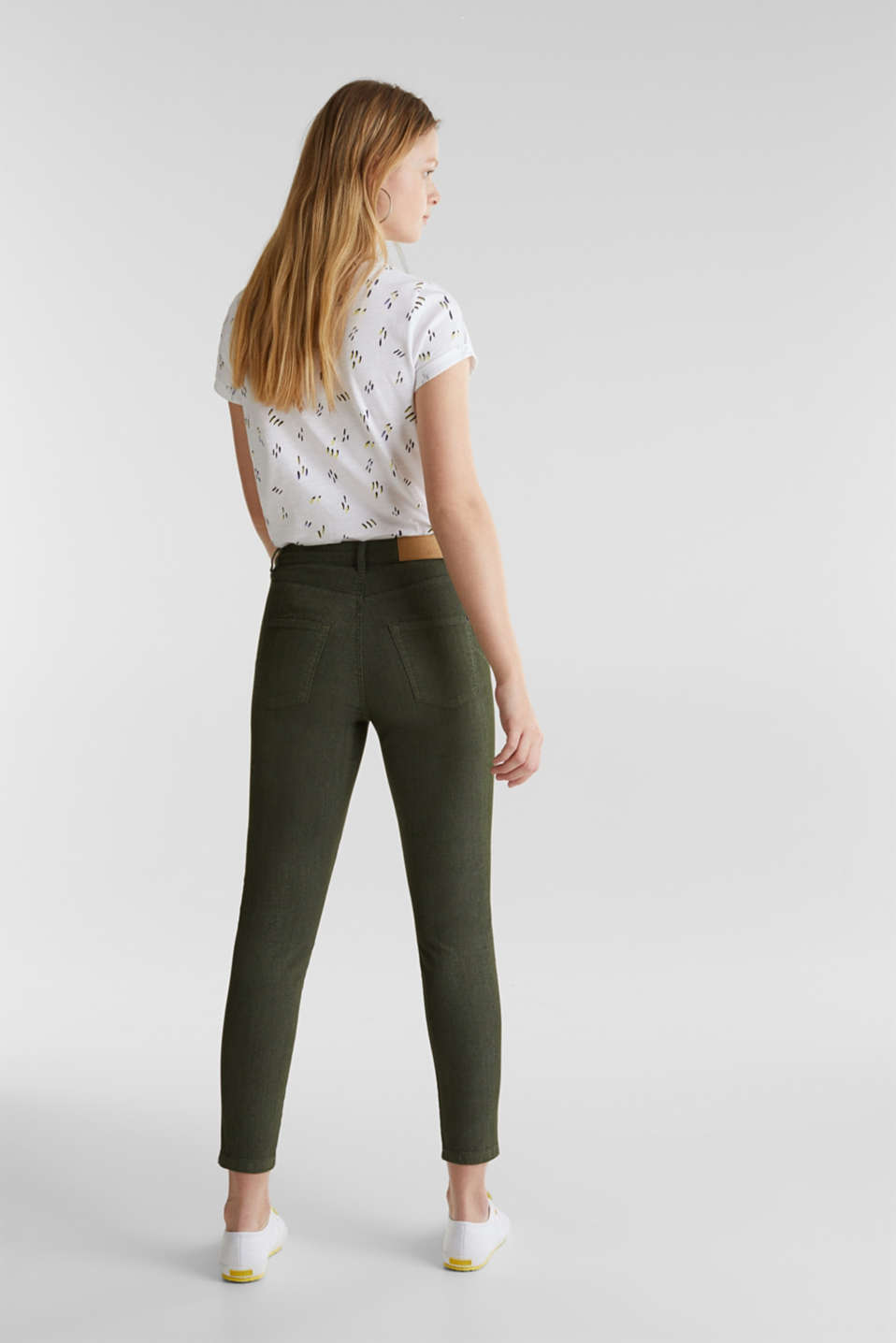 Ankle-length stretch trousers, KHAKI GREEN, detail image number 3