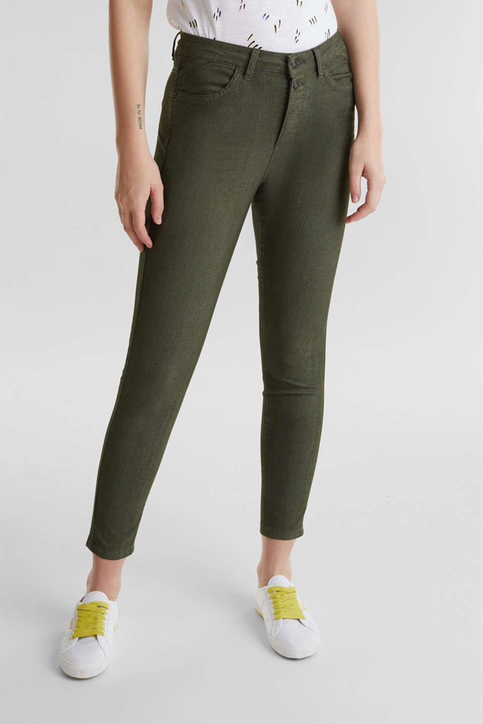 Ankle-length stretch trousers, KHAKI GREEN, detail image number 6