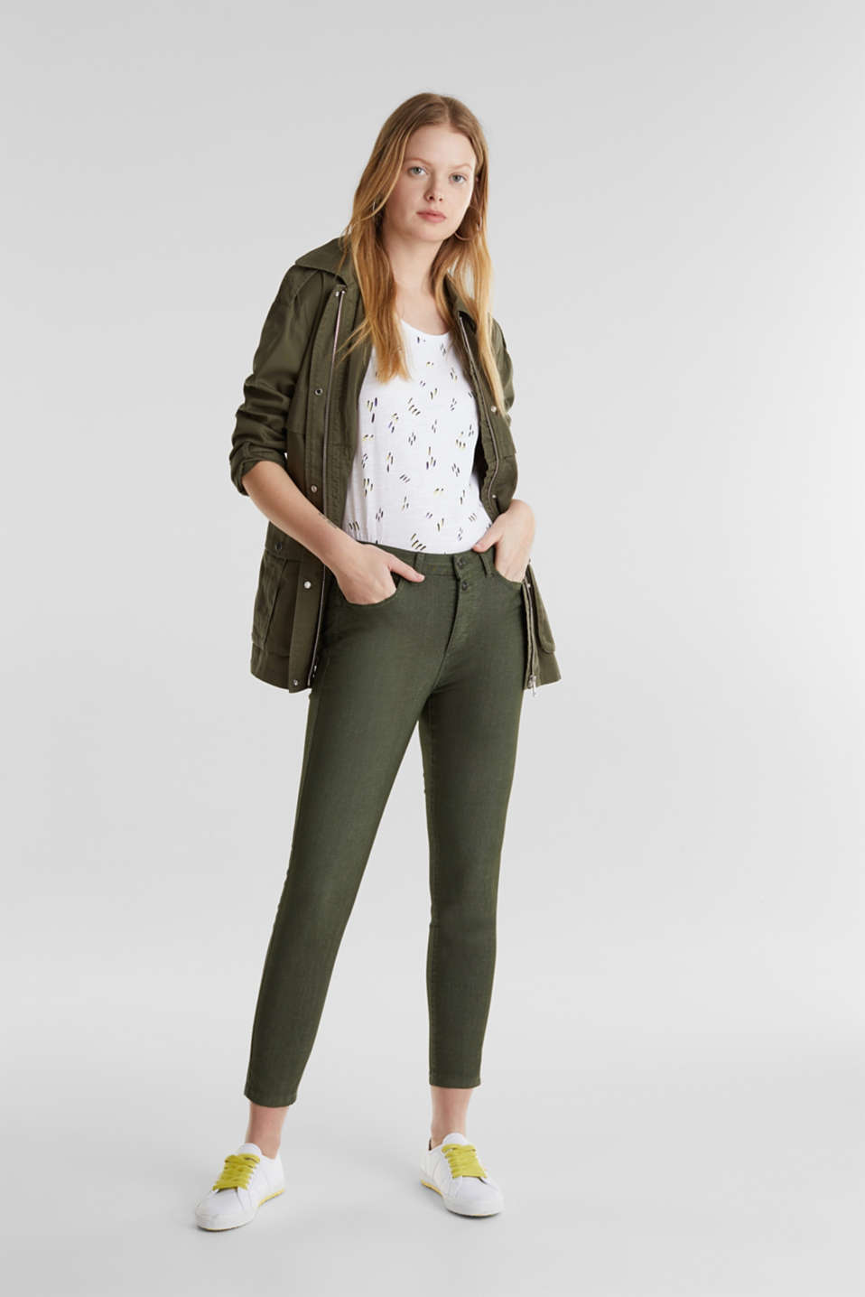Ankle-length stretch trousers, KHAKI GREEN, detail image number 1