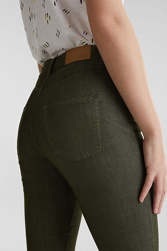 Ankle-length stretch trousers, KHAKI GREEN, detail image number 5