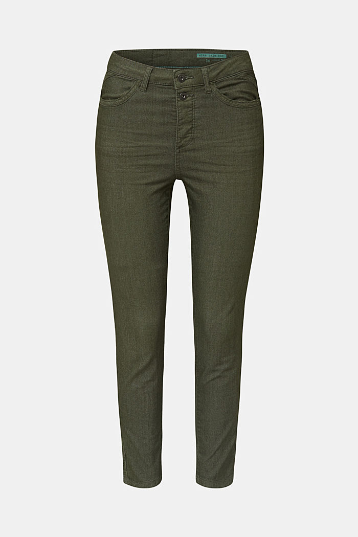Ankle-length stretch trousers, KHAKI GREEN, detail image number 7