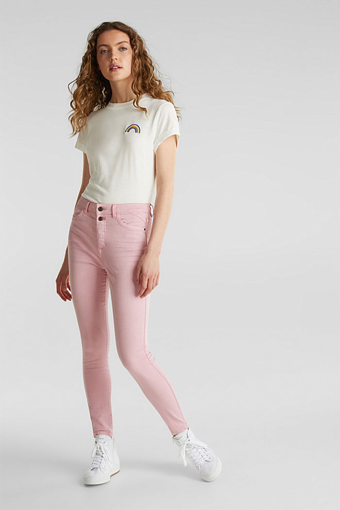 Ankle-length stretch trousers, PINK, detail image number 1