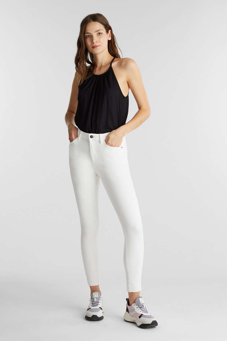 Ankle-length jeans with vintage hems, WHITE, detail image number 1