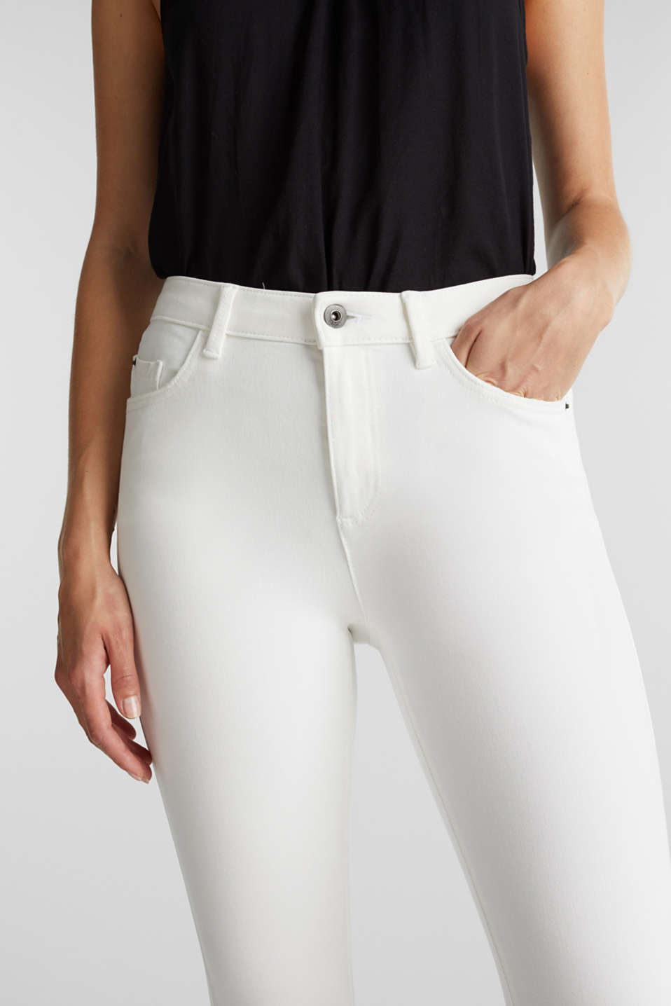 Ankle-length jeans with vintage hems, WHITE, detail image number 2