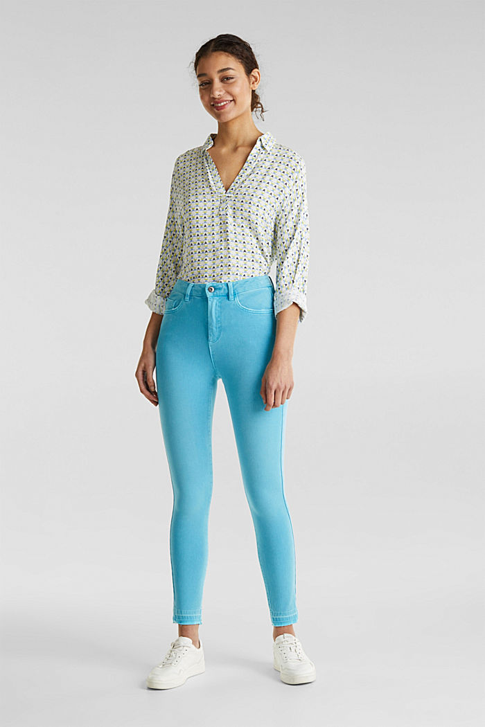 Ankle-length jeans with vintage hems, TURQUOISE, detail image number 0