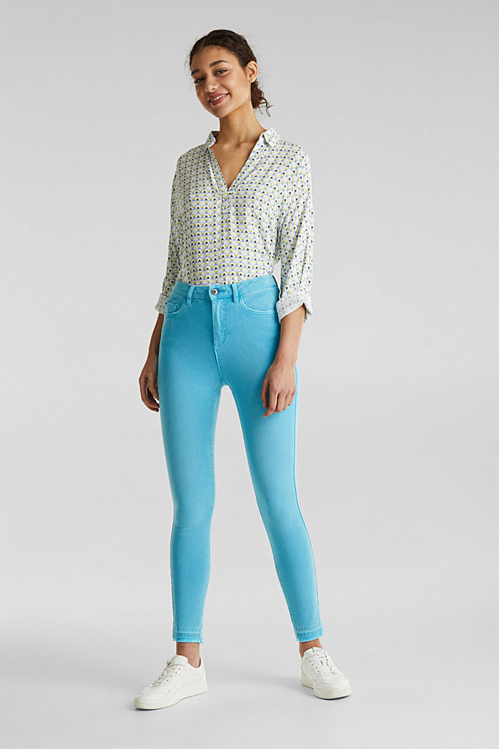 Ankle-length jeans with vintage hems, TURQUOISE, detail image number 1