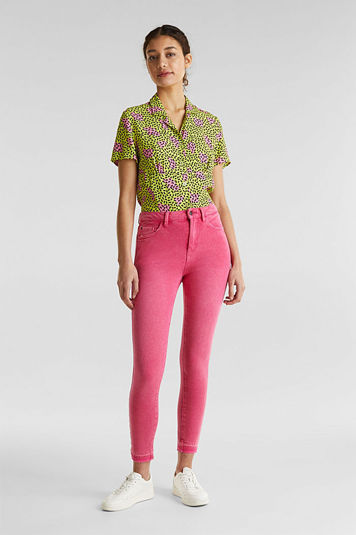 Ankle-length jeans with vintage hems, PINK FUCHSIA, detail image number 0