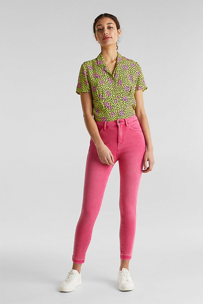 Ankle-length jeans with vintage hems, PINK FUCHSIA, detail image number 1