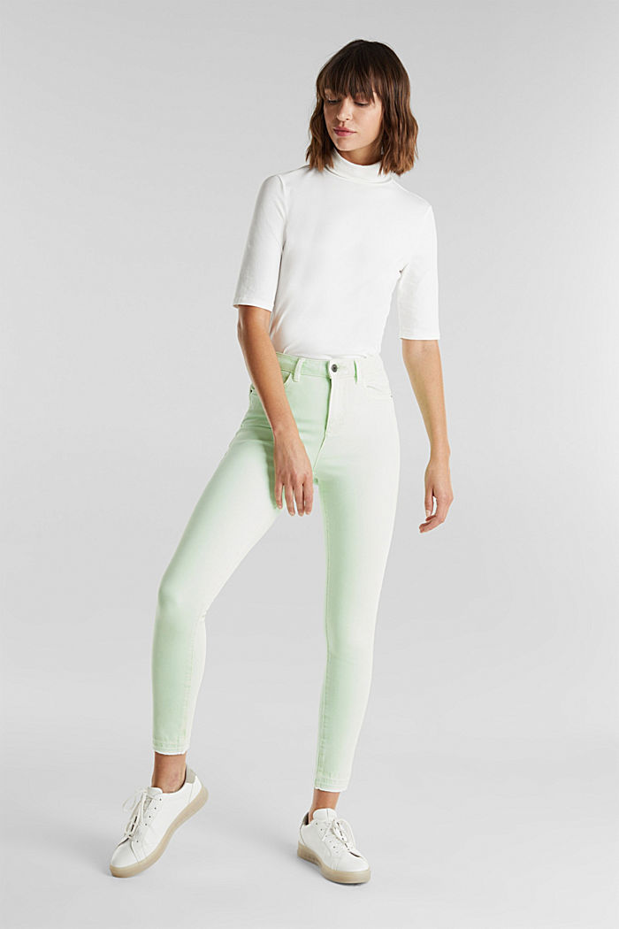 Knöchellange Jeans mit Vintage-Säumen, LIME YELLOW, detail image number 1