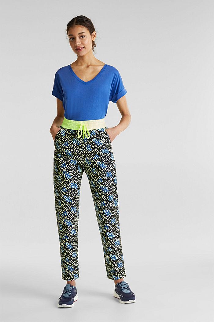 Pantaloni stile jogger con stampa grafica, 100% cotone, NAVY, detail image number 1