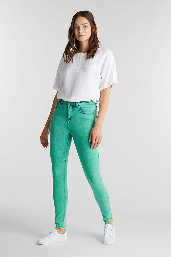 Skinny Stretch-Jeans, GREEN, detail image number 1