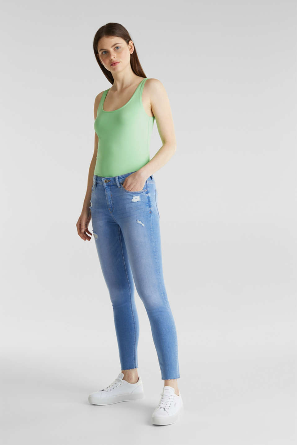 Ankle-length distressed jeans, BRIGHT BLUE, detail image number 0