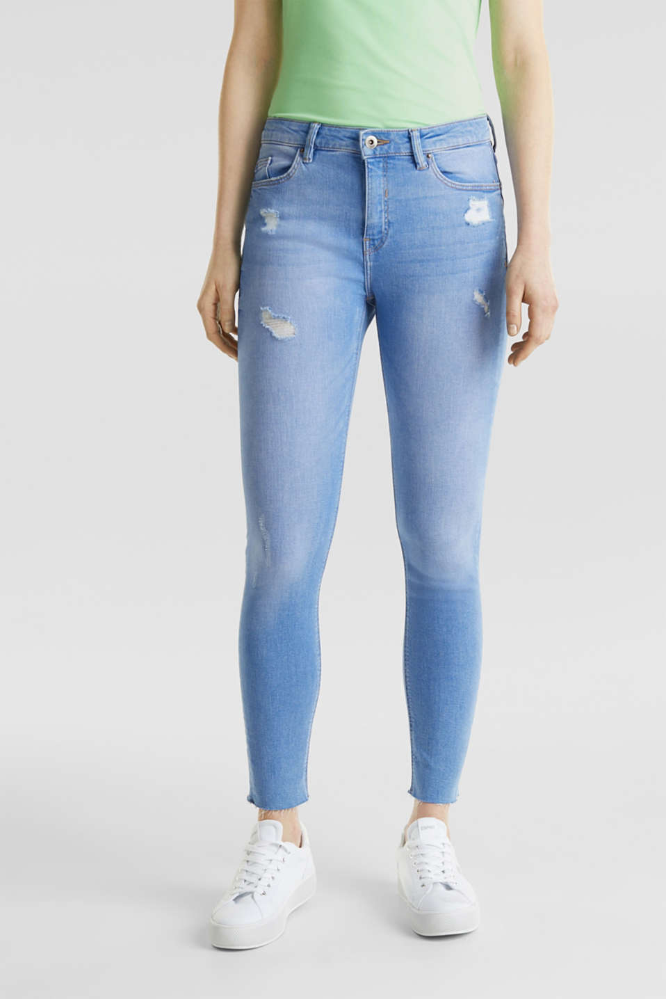 Ankle-length distressed jeans, BRIGHT BLUE, detail image number 6