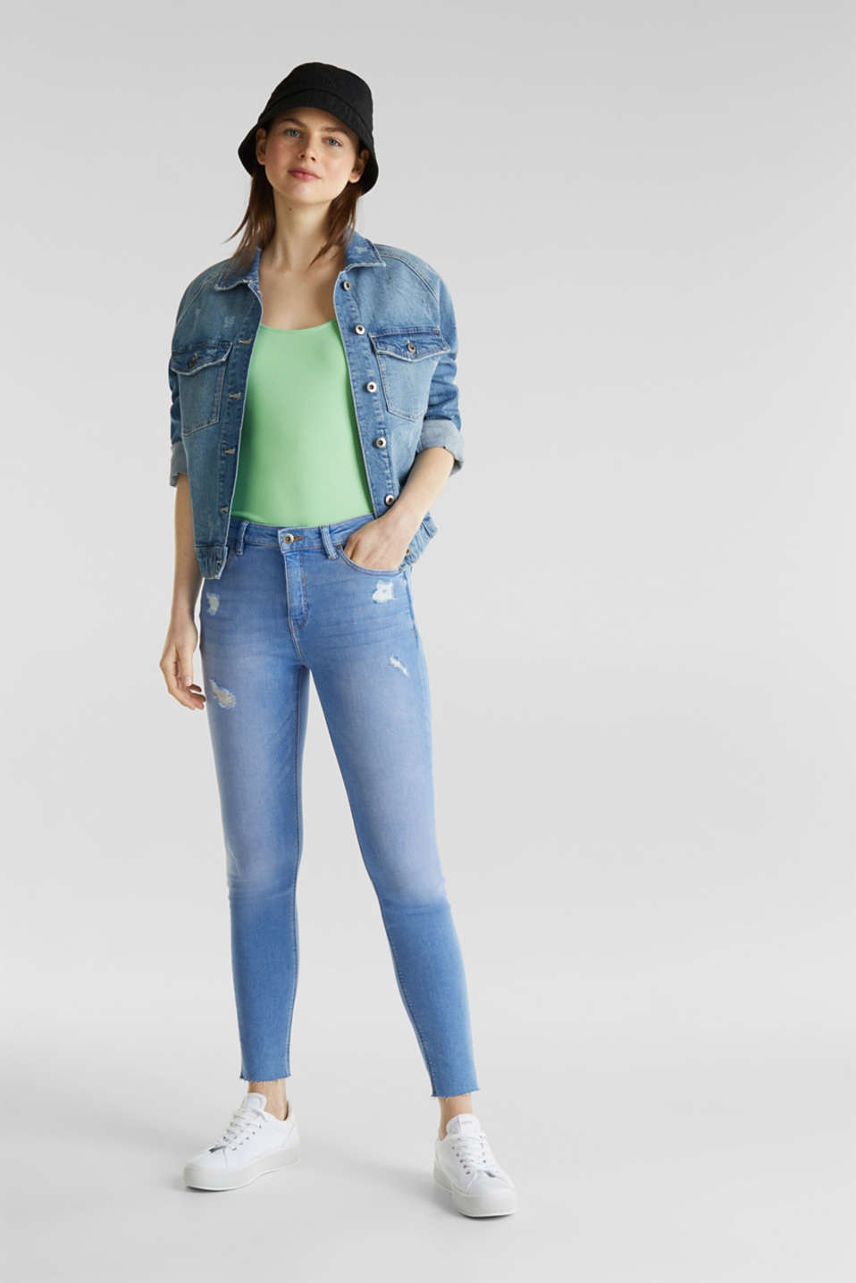 Ankle-length distressed jeans, BRIGHT BLUE, detail image number 1