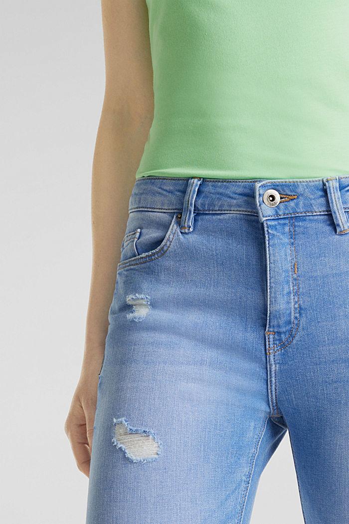 Knöchellange Destroyed-Jeans, BRIGHT BLUE, detail image number 2