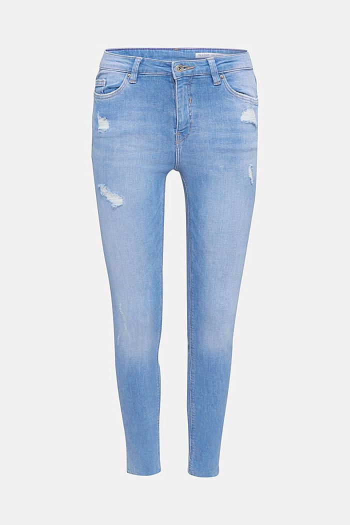 Knöchellange Destroyed-Jeans, BRIGHT BLUE, detail image number 7