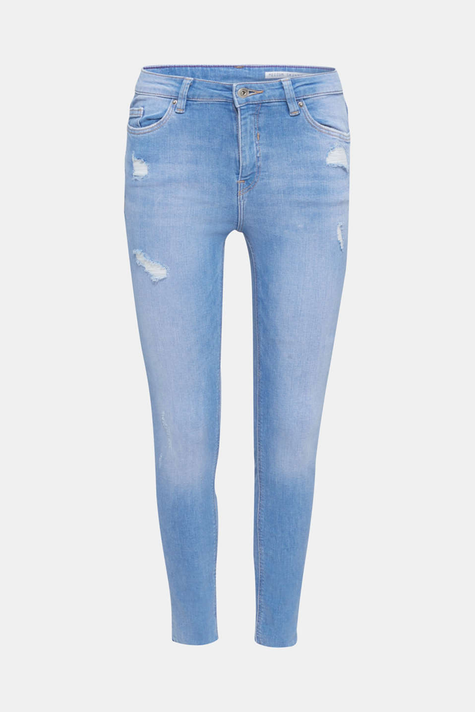 Ankle-length distressed jeans, BRIGHT BLUE, detail image number 7