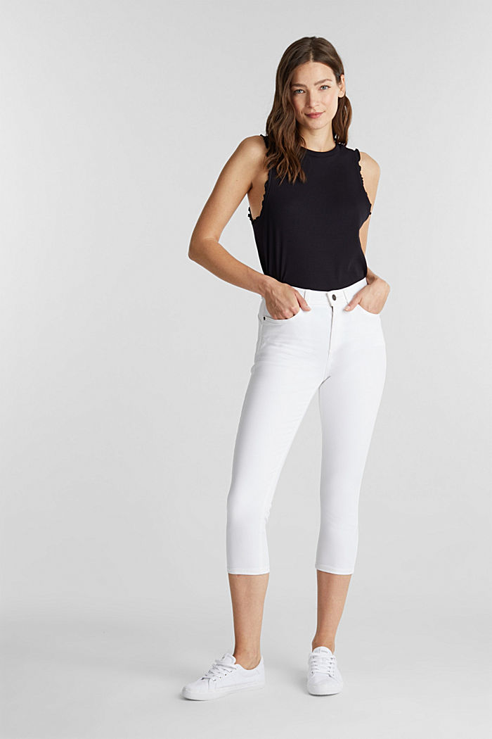 Super stretch capri trousers, WHITE, detail image number 0