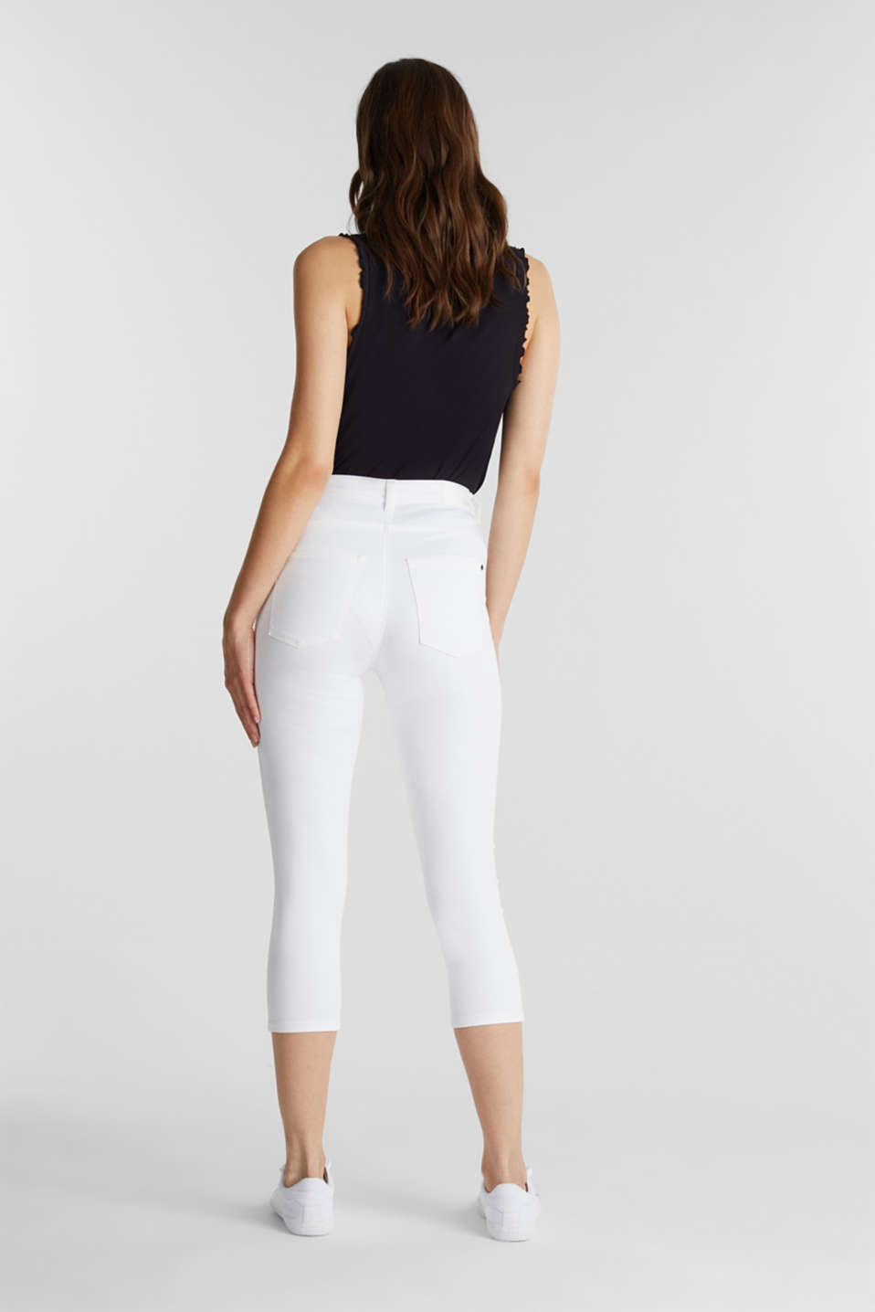 Super stretch capri trousers, WHITE, detail image number 3