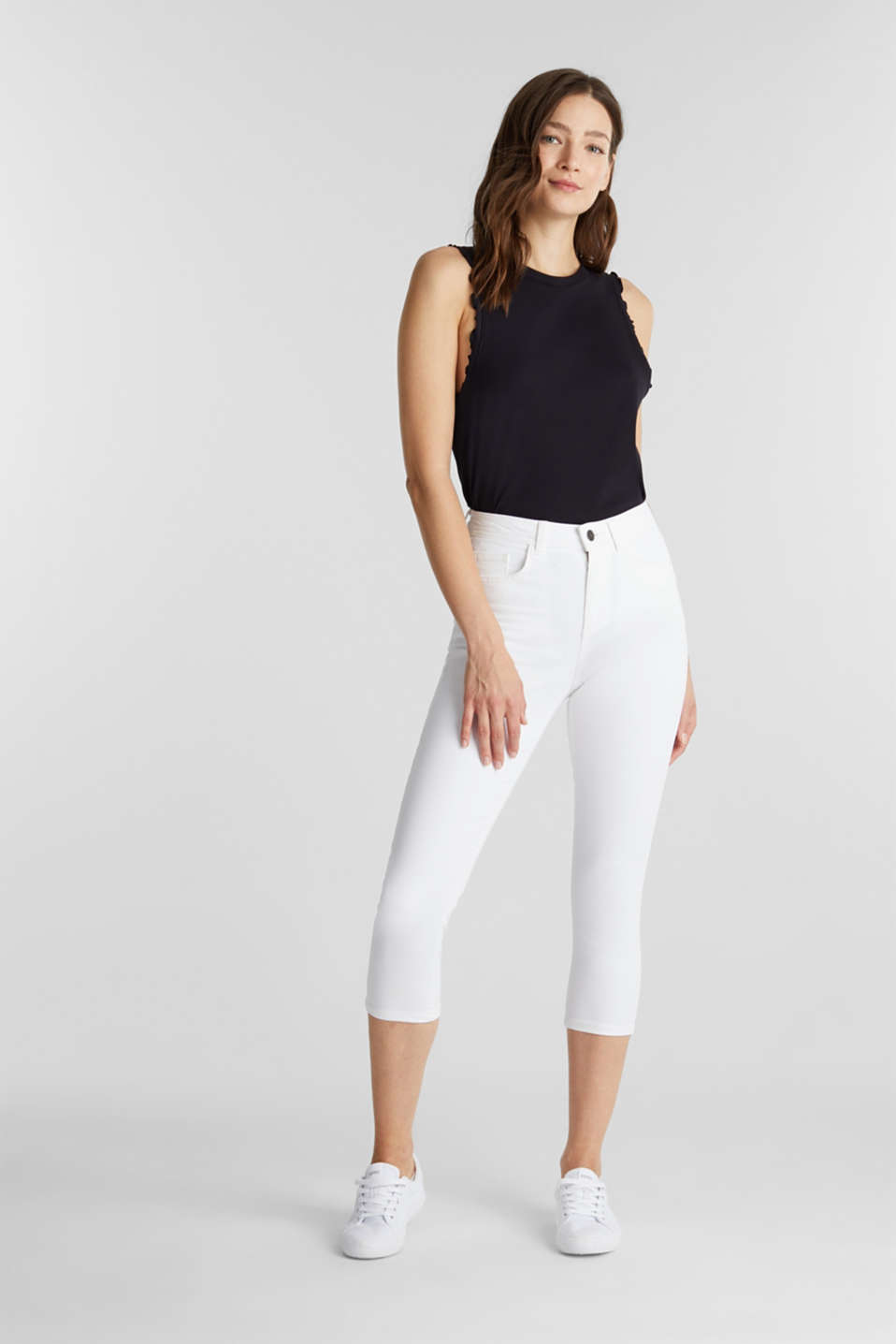 Super stretch capri trousers, WHITE, detail image number 1
