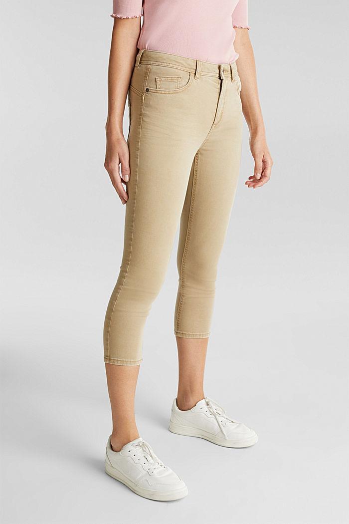 Super stretch capri trousers, KHAKI BEIGE, detail image number 0