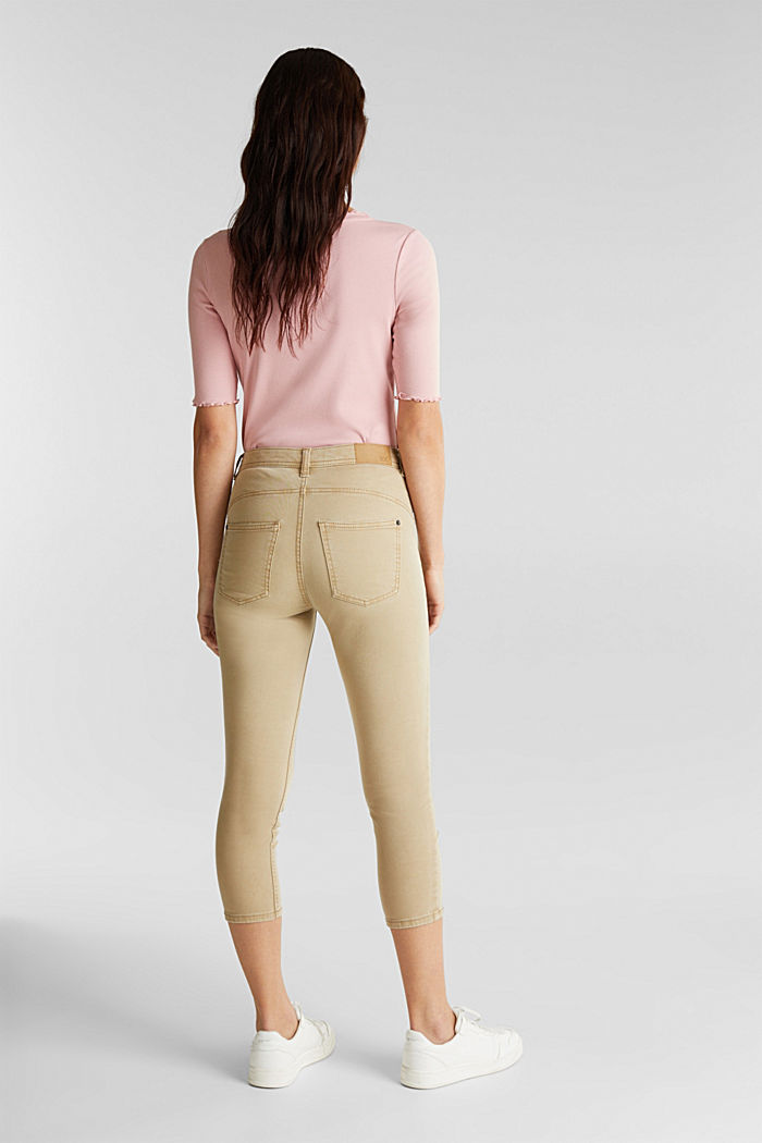 Super stretch capri trousers, KHAKI BEIGE, detail image number 3
