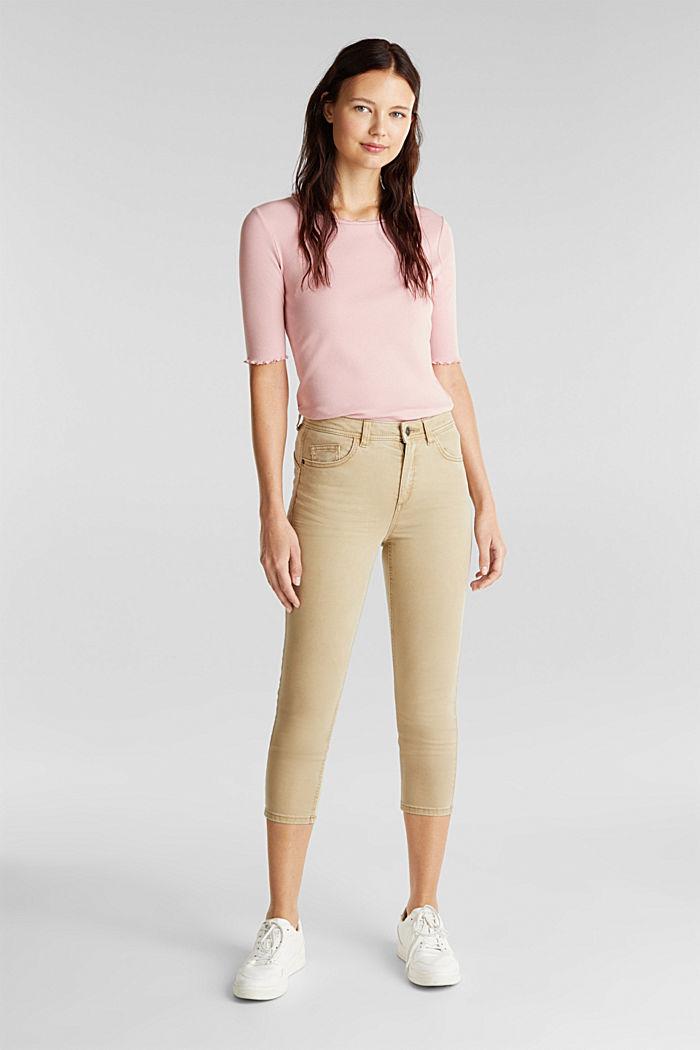 Super stretch capri trousers, KHAKI BEIGE, detail image number 6