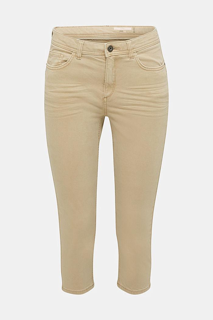 Super stretch capri trousers, KHAKI BEIGE, detail image number 7