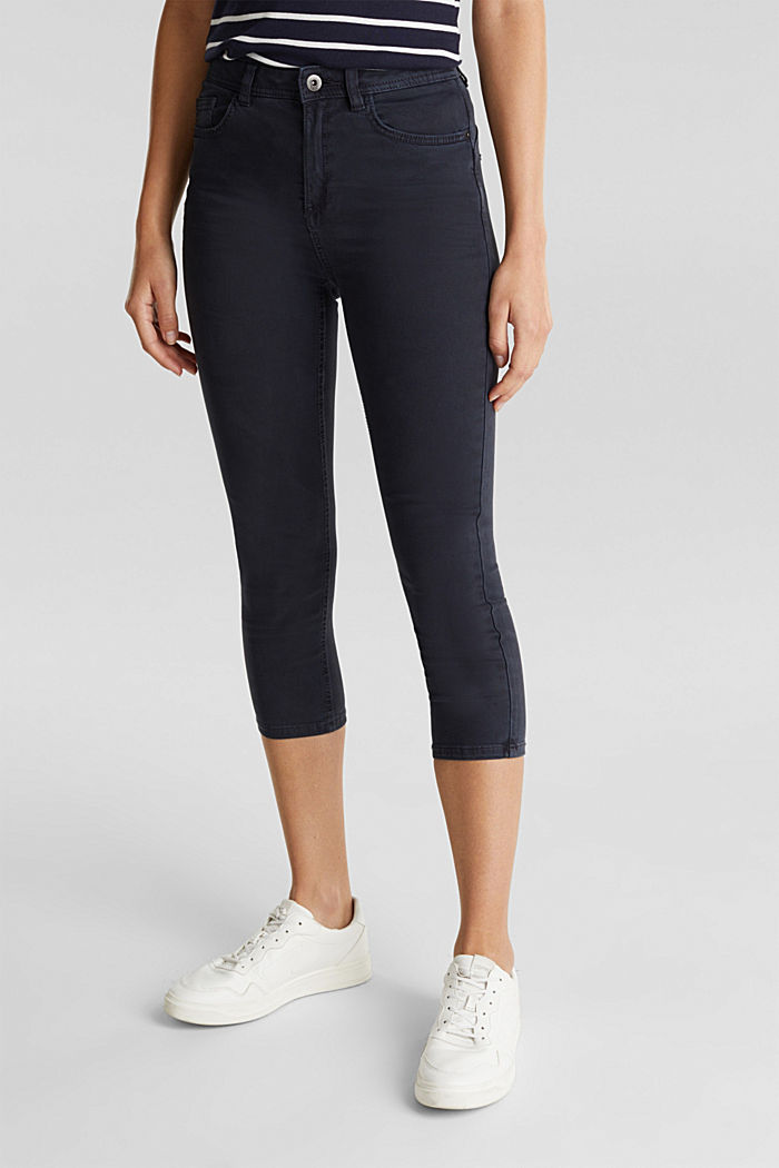 Super stretch capri trousers, NAVY, overview