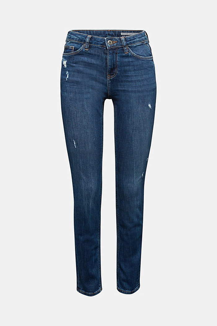 Ankle-length jeans with a vintage finish, BLUE MEDIUM WASHED, detail image number 6