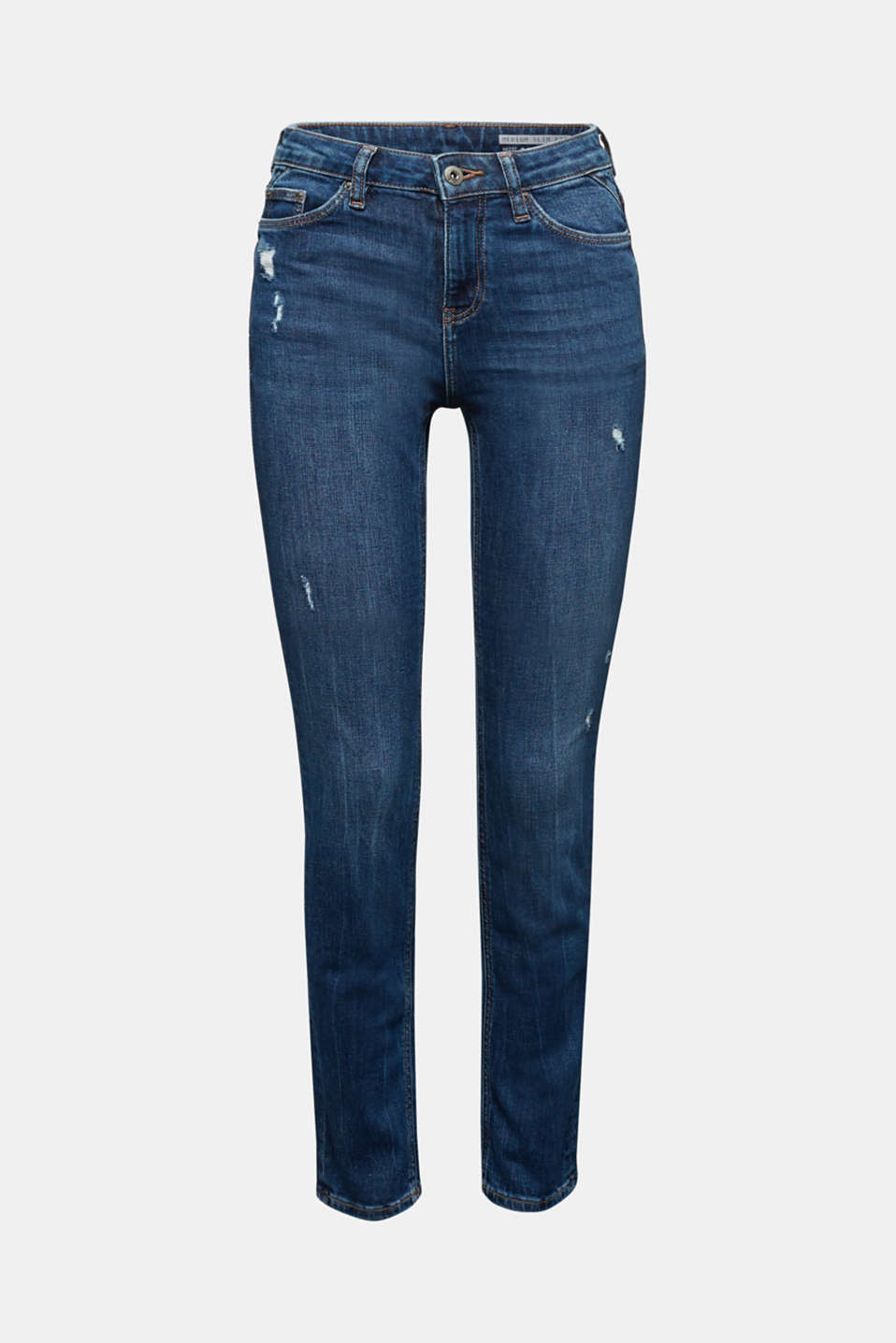 Ankle-length jeans with a vintage finish, BLUE MEDIUM WASH, detail image number 7