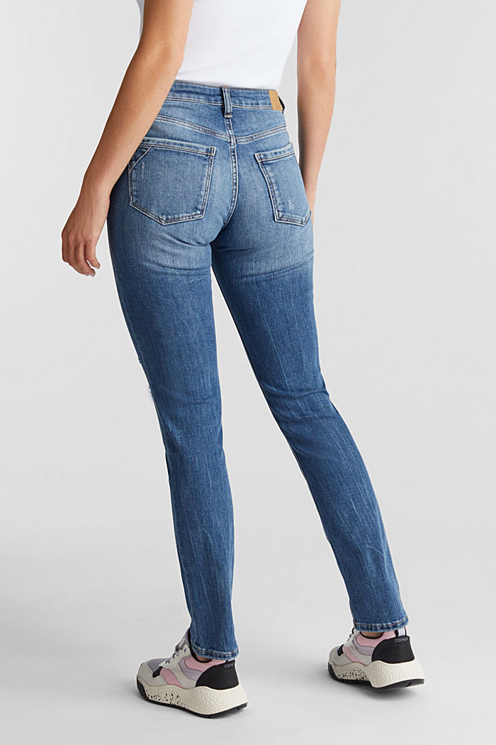 Ankle-length jeans with a vintage finish, BLUE LIGHT WASHED, detail image number 2