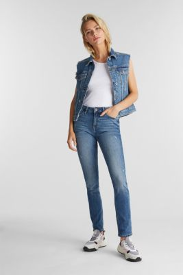 Ankle-length jeans with a vintage finish, BLUE LIGHT WASH, detail