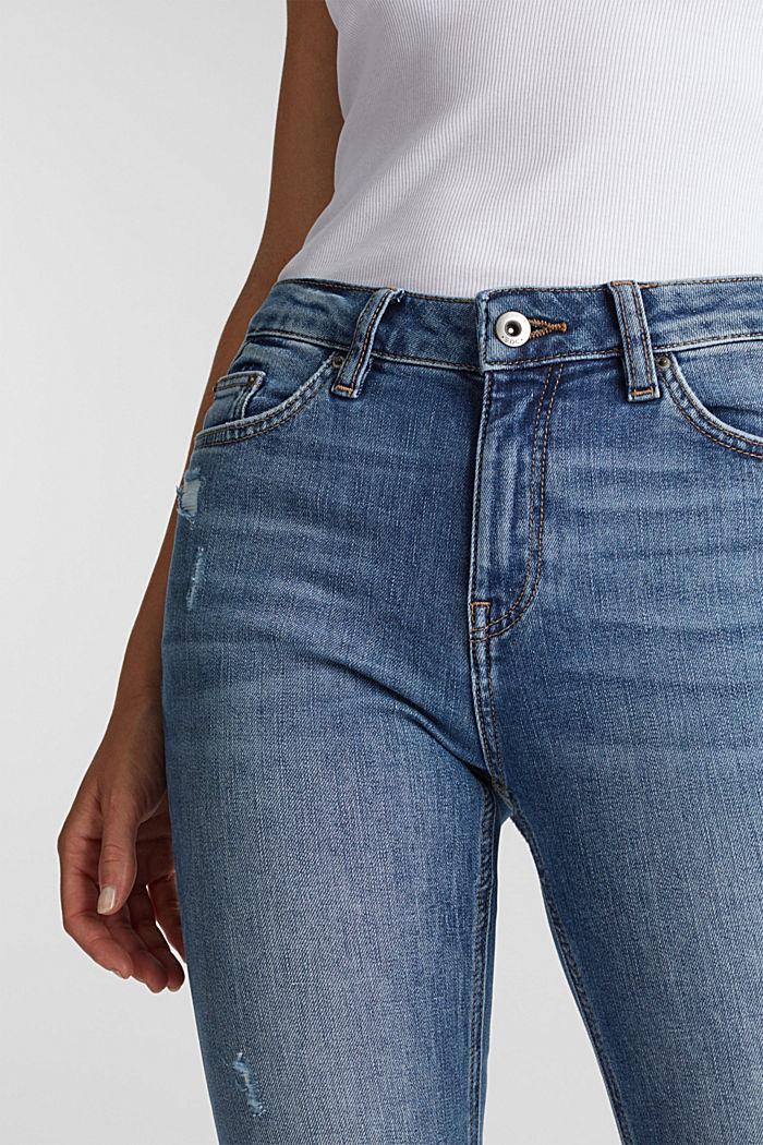 Knöchellange Jeans mit Used-Effekten, BLUE LIGHT WASHED, detail image number 1