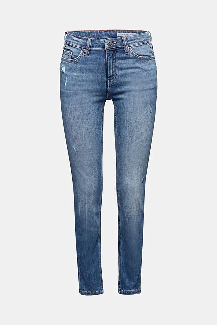 Knöchellange Jeans mit Used-Effekten, BLUE LIGHT WASHED, detail image number 5