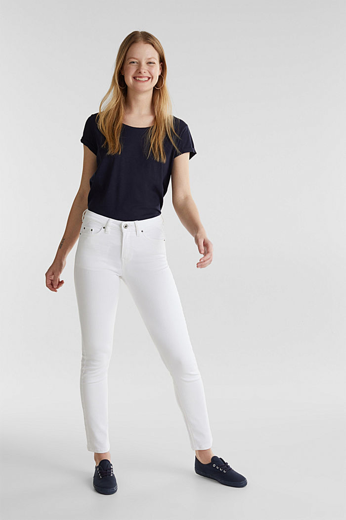 Knöchellange Used-Look-Jeans, WHITE, detail image number 0