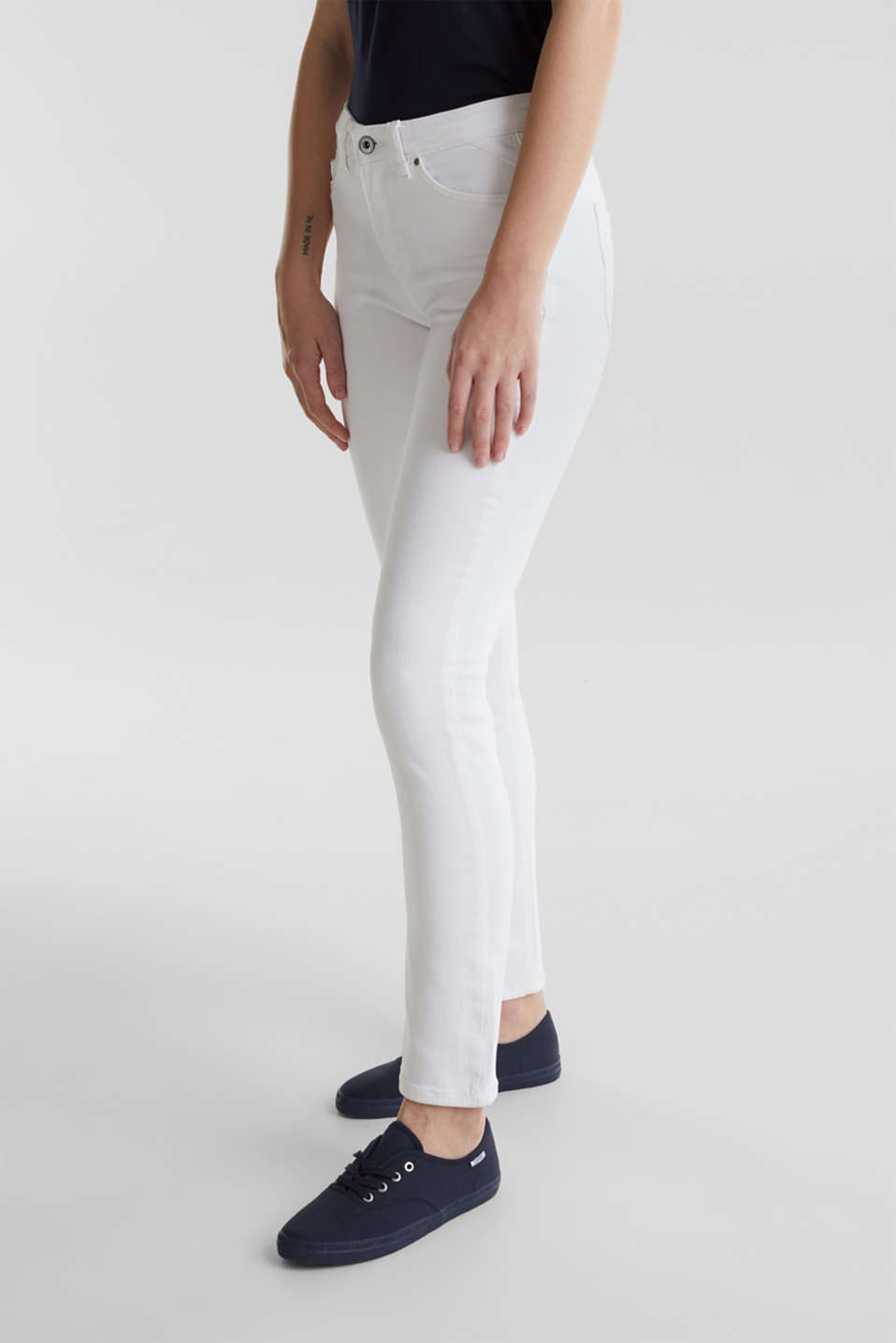 Ankle-length jeans in a vintage look, WHITE, detail image number 5